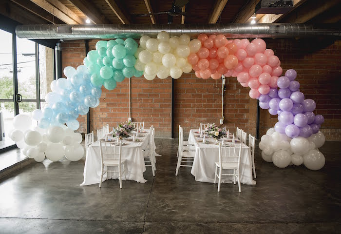 Rainbow Balloon Installation + Party Tables from a Rainbow Unicorn Birthday Party on Kara's Party Ideas | KarasPartyIdeas.com (26)