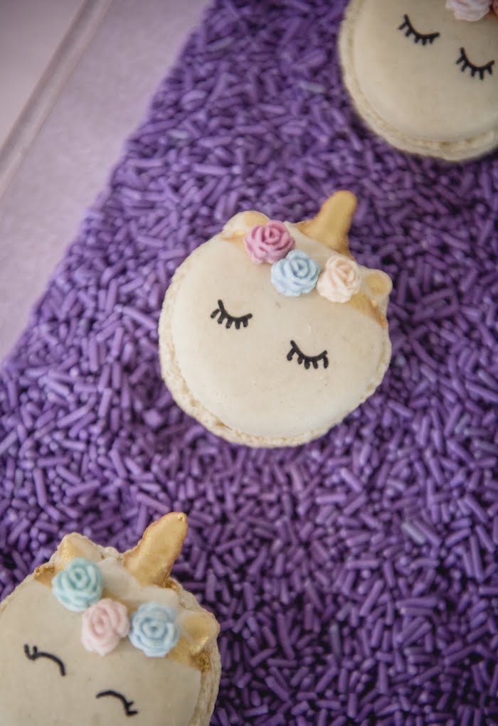 Unicorn Macarons from a Rainbow Unicorn Birthday Party on Kara's Party Ideas | KarasPartyIdeas.com (20)