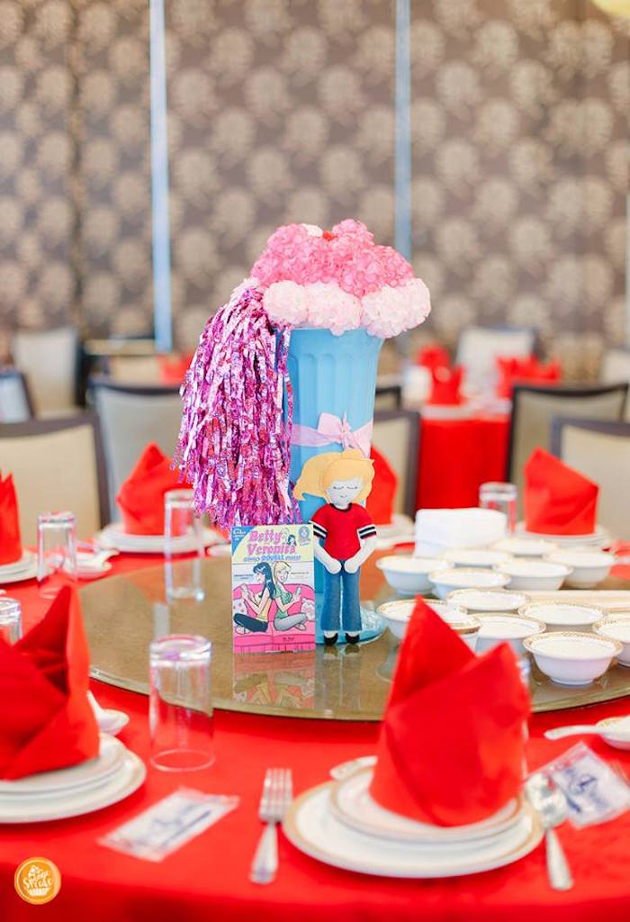 Riverdale High Themed Table Centerpieces from a Riverdale High Comic Themed Birthday Party on Kara's Party Ideas | KarasPartyIdeas.com (14)