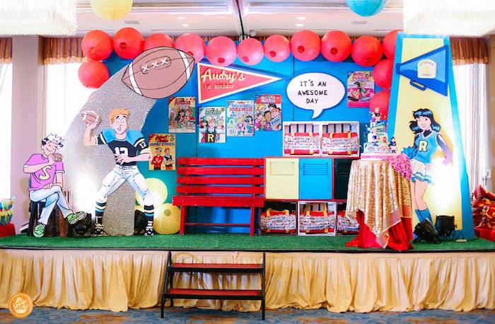 Riverdale High Party Stage from a Riverdale High Comic Themed Birthday Party on Kara's Party Ideas | KarasPartyIdeas.com (11)