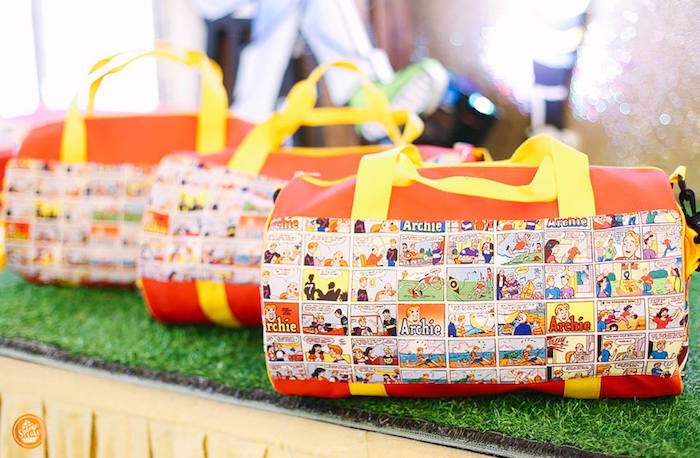 Riverdale High Comic Gym Bag Favors from a Riverdale High Comic Themed Birthday Party on Kara's Party Ideas | KarasPartyIdeas.com (9)