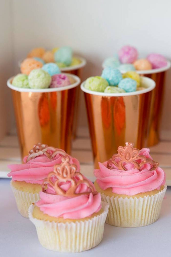 Princess Cupcakes + Rose Gold Snack Cups from a Rose Gold Princess Party on Kara's Party Ideas | KarasPartyIdeas.com (14)