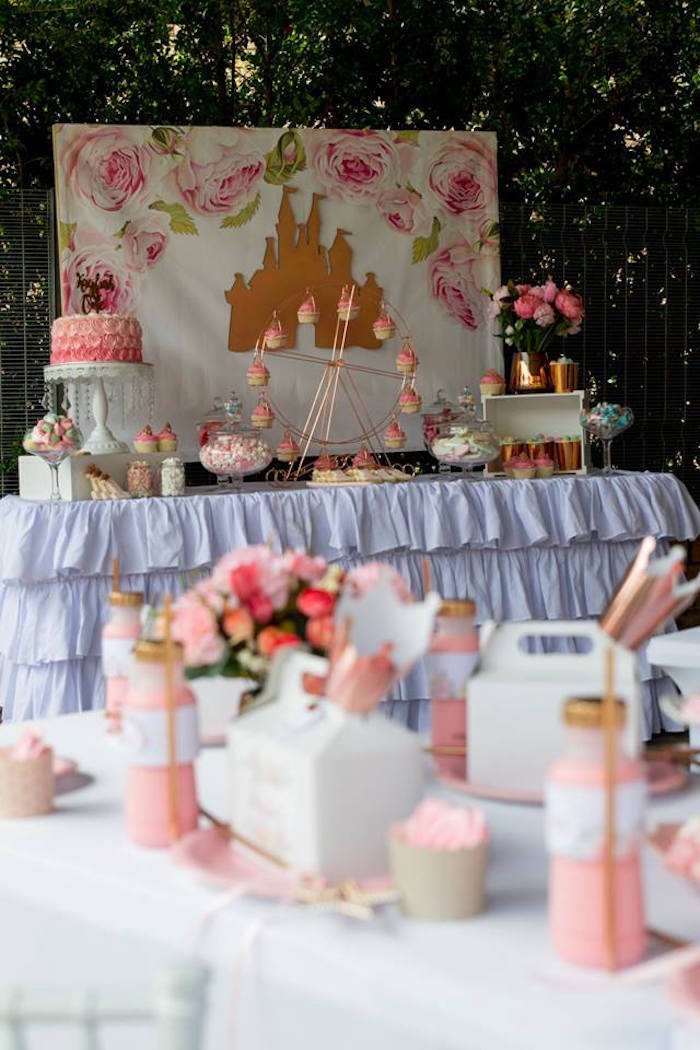 Princess Themed Dessert Table from a Rose Gold Princess Party on Kara's Party Ideas | KarasPartyIdeas.com (12)