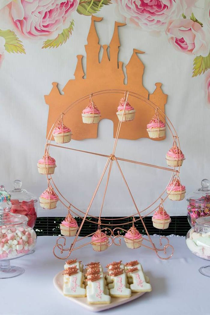 Ferris Wheel Cupcakes + Castle Backdrop from a Rose Gold Princess Party on Kara's Party Ideas | KarasPartyIdeas.com (11)