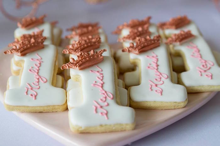 "Crowned ""1"" Sugar Cookies from a Rose Gold Princess Party on Kara's Party Ideas 