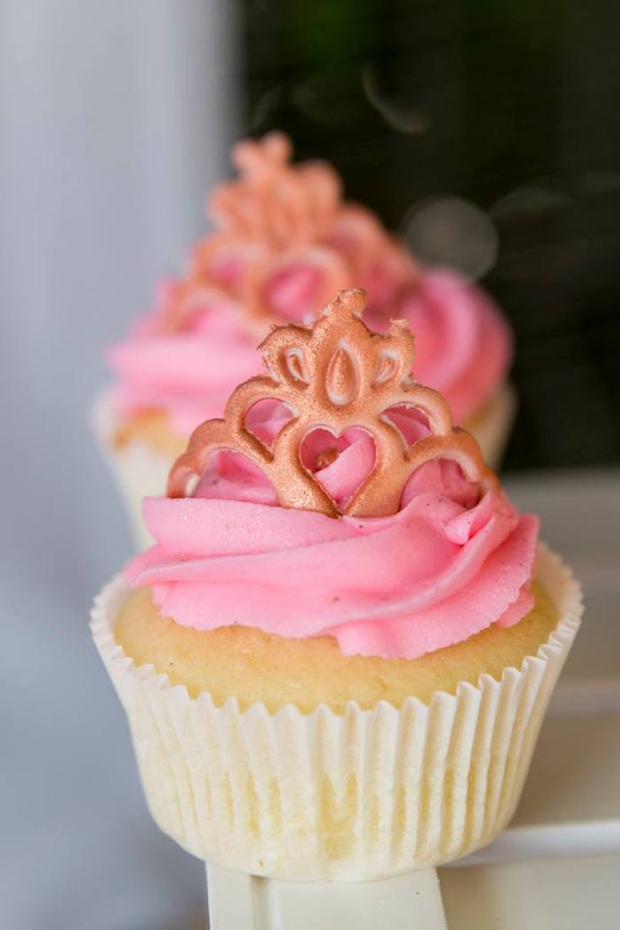 Pink Princess-crowned Cupcake from a Rose Gold Princess Party on Kara's Party Ideas | KarasPartyIdeas.com (8)
