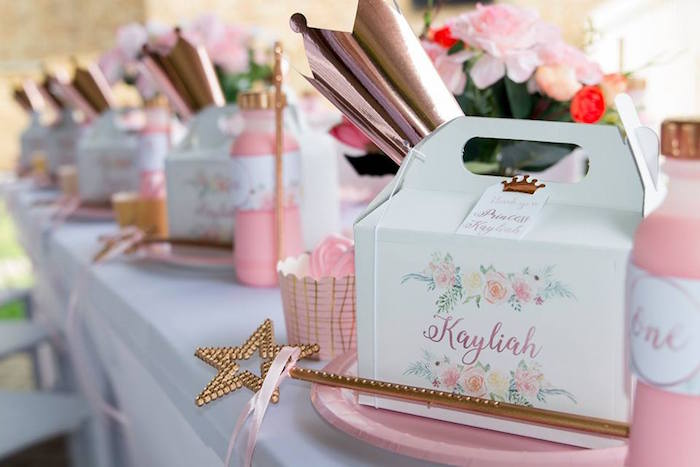 Princess-inspired Gable Box Table Setting from a Rose Gold Princess Party on Kara's Party Ideas | KarasPartyIdeas.com (7)