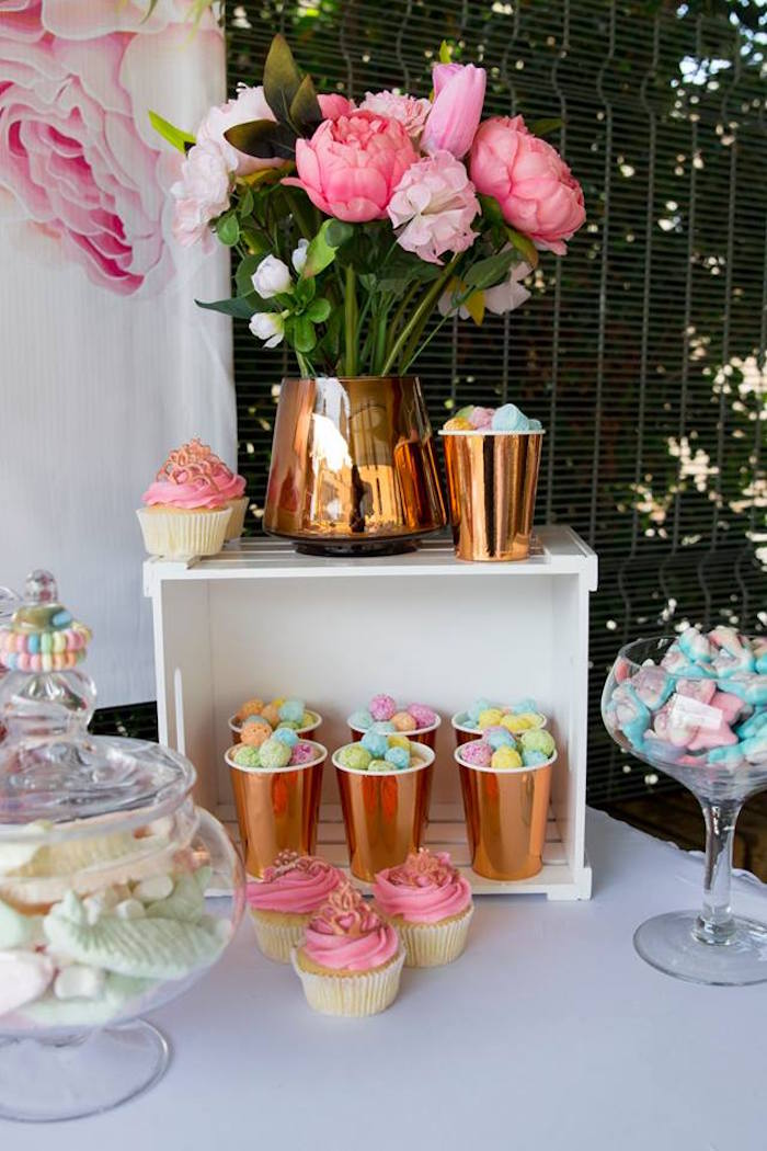 Sweet Table Detail from a Rose Gold Princess Party on Kara's Party Ideas | KarasPartyIdeas.com (6)