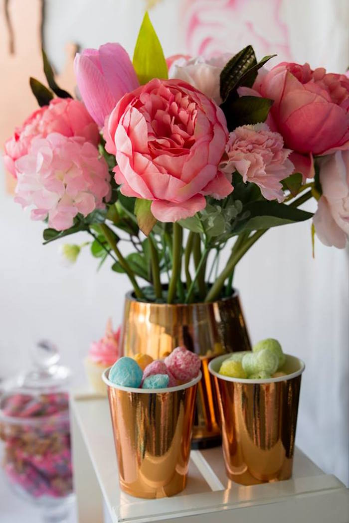 Pink Blooms and Snack Cups from a Rose Gold Princess Party on Kara's Party Ideas | KarasPartyIdeas.com (4)