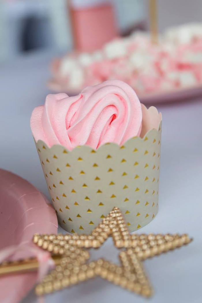 Pink-iced Cupcake from a Rose Gold Princess Party on Kara's Party Ideas | KarasPartyIdeas.com (21)