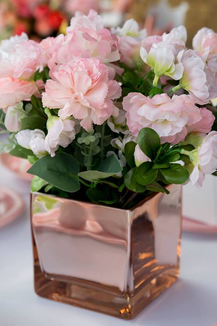 Rose Gold Floral Arrangement from a Rose Gold Princess Party on Kara's Party Ideas | KarasPartyIdeas.com (19)
