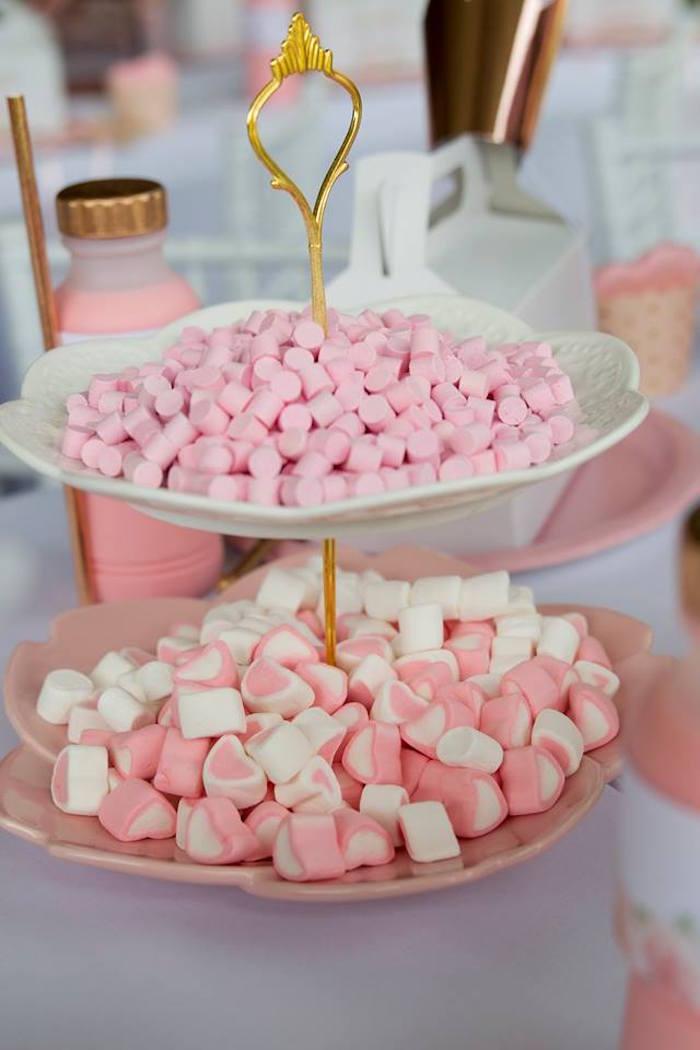 Candy-filled Dessert Pedestal from a Rose Gold Princess Party on Kara's Party Ideas | KarasPartyIdeas.com (18)