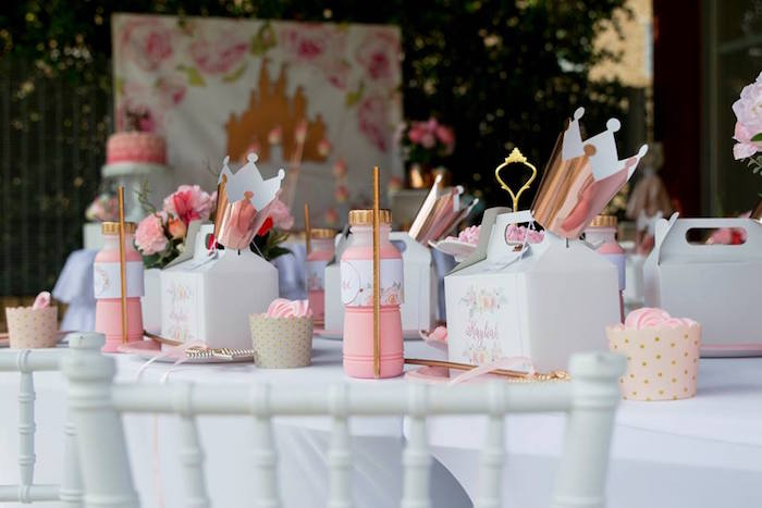 Princess Themed Kid Table from a Rose Gold Princess Party on Kara's Party Ideas | KarasPartyIdeas.com (16)