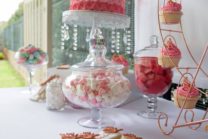 Apothecary Jars of Candy from a Rose Gold Princess Party on Kara's Party Ideas | KarasPartyIdeas.com (15)