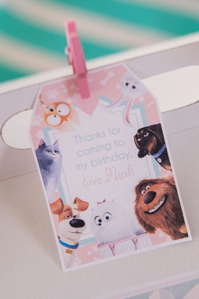 Secret Life of Pets Thank You Tag from a Secret Life of Pets Birthday Party on Kara's Party Ideas | KarasPartyIdeas.com (24)