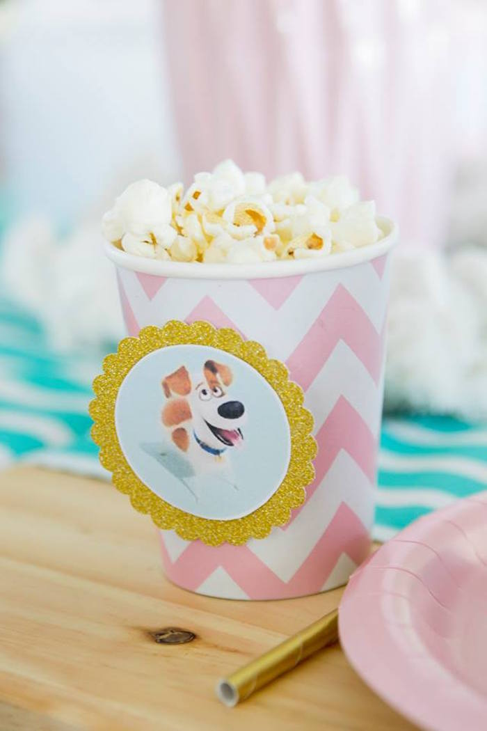 Max the Dog-labeled Popcorn Cup from a Secret Life of Pets Birthday Party on Kara's Party Ideas | KarasPartyIdeas.com (13)