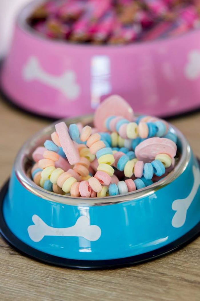 "Dog Dish Candy ""Collar""-filled Bowl from a Secret Life of Pets Birthday Party on Kara's Party Ideas 