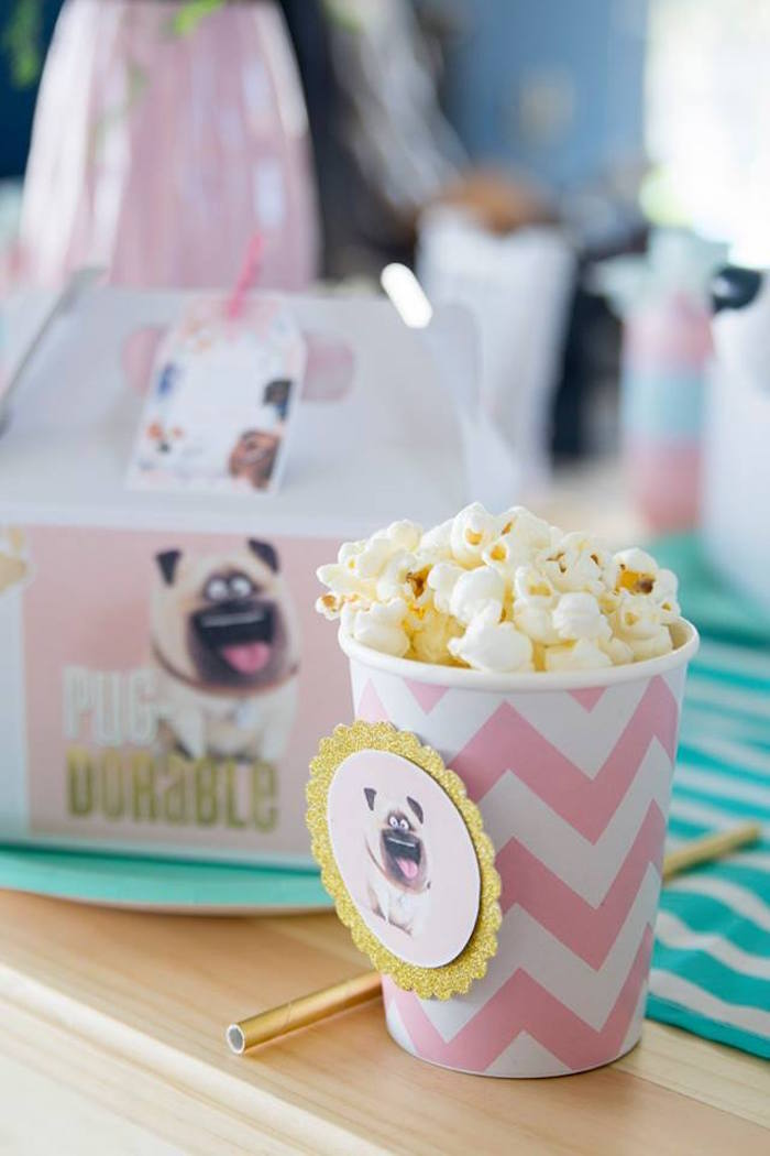 Mel-adorned Popcorn Cup from a Secret Life of Pets Birthday Party on Kara's Party Ideas | KarasPartyIdeas.com (29)