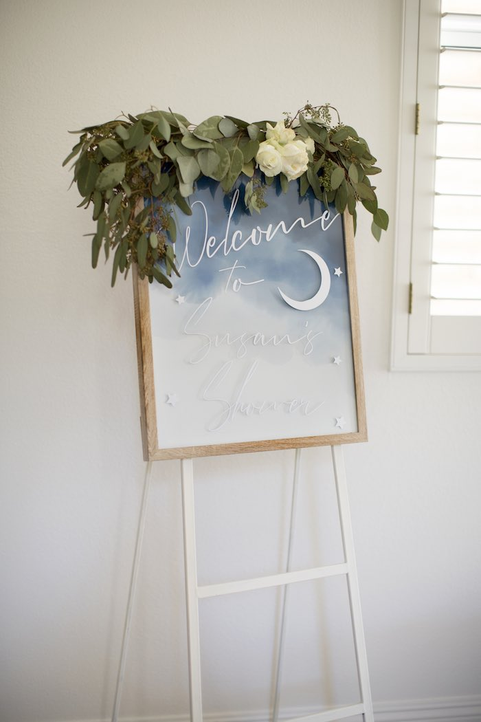 Night Sky Welcome Sign from a Shibori Tie Dye Baby Shower Brunch on Kara's Party Ideas | KarasPartyIdeas.com (39)