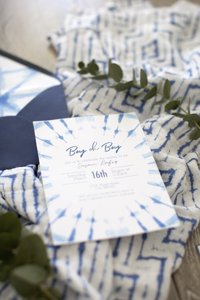 Tie Dye Baby Shower Invite from a Shibori Tie Dye Baby Shower Brunch on Kara's Party Ideas | KarasPartyIdeas.com (36)