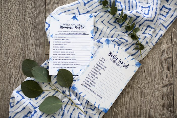Baby Shower Game Prints + Signage from a Shibori Tie Dye Baby Shower Brunch on Kara's Party Ideas | KarasPartyIdeas.com (35)