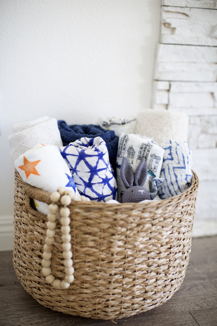 Baby Swaddle Blankets in a Basket from a Shibori Tie Dye Baby Shower Brunch on Kara's Party Ideas | KarasPartyIdeas.com (34)