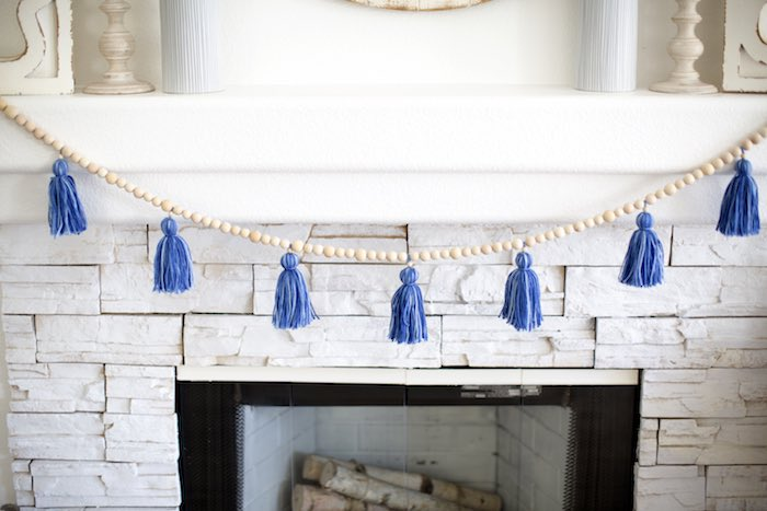 Blue Tassel Garland from a Shibori Tie Dye Baby Shower Brunch on Kara's Party Ideas | KarasPartyIdeas.com (33)