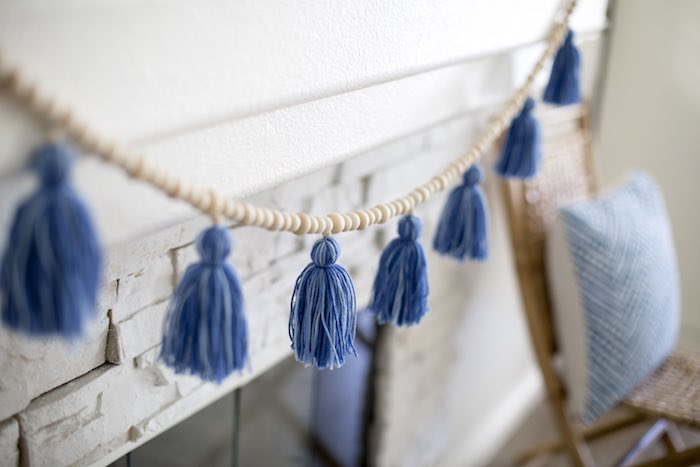 Blue Tassel Garland from a Shibori Tie Dye Baby Shower Brunch on Kara's Party Ideas | KarasPartyIdeas.com (32)