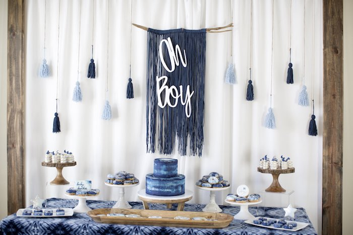 Oh Boy Dessert Table from a Shibori Tie Dye Baby Shower Brunch on Kara's Party Ideas | KarasPartyIdeas.com (29)