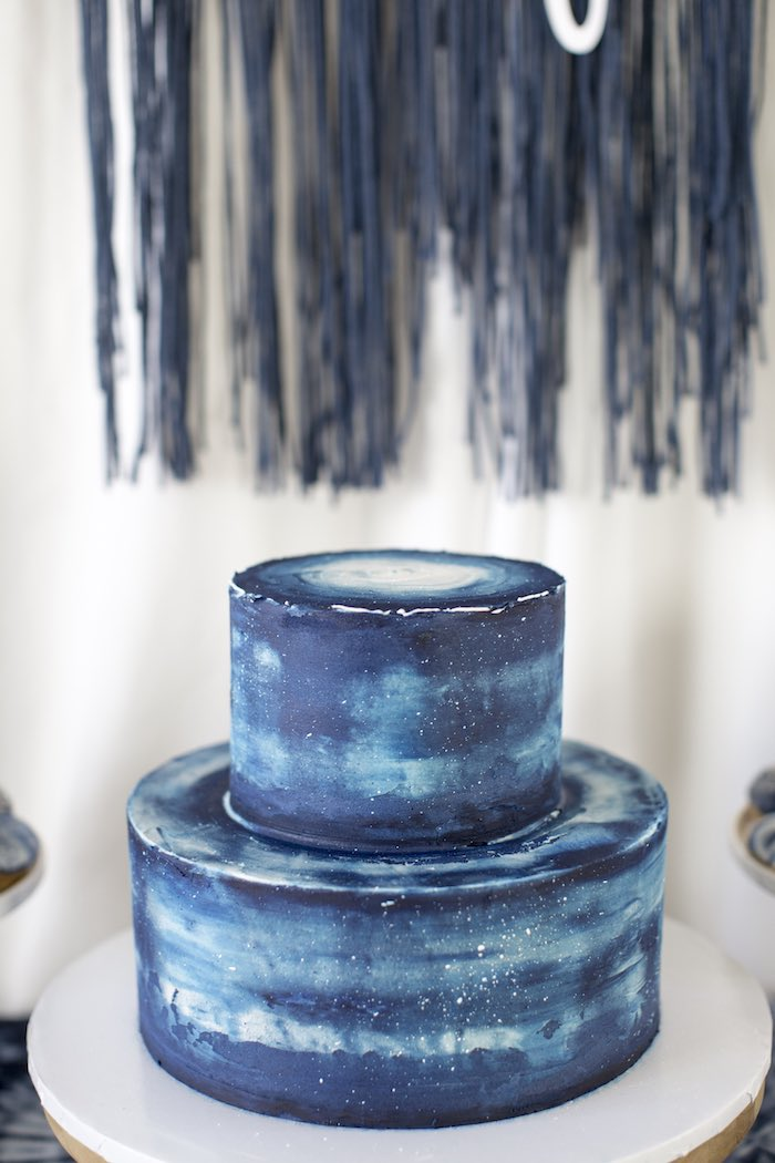 Blue Tie Dye Cake from a Shibori Tie Dye Baby Shower Brunch on Kara's Party Ideas | KarasPartyIdeas.com (28)