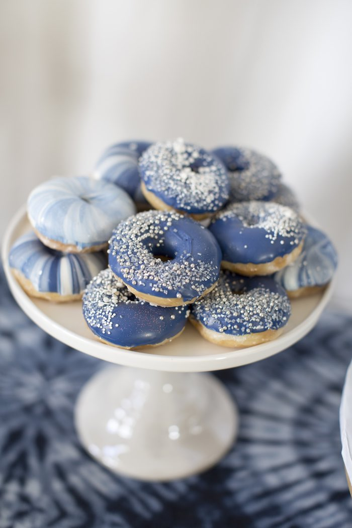 Shibori Tie Dye Doughnuts from a Shibori Tie Dye Baby Shower Brunch on Kara's Party Ideas | KarasPartyIdeas.com (26)