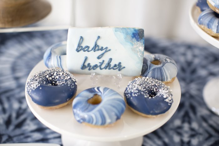 Baby Brother Cookie + Doughnuts from a Shibori Tie Dye Baby Shower Brunch on Kara's Party Ideas | KarasPartyIdeas.com (25)