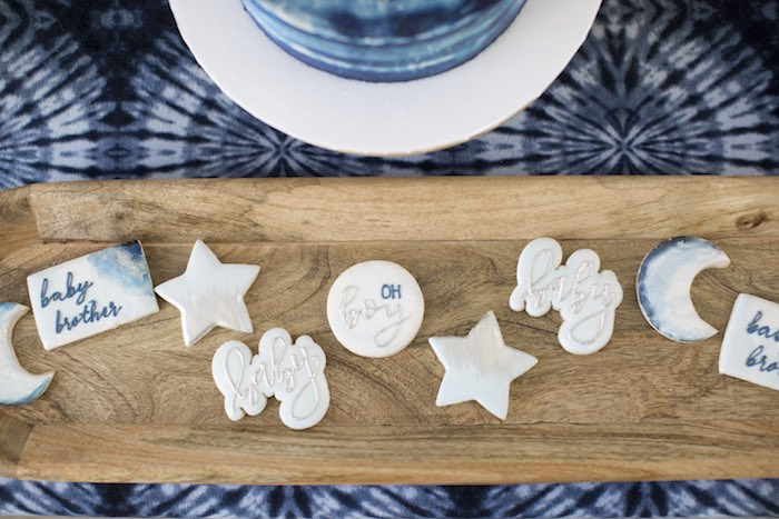 Baby Shower Cookies from a Shibori Tie Dye Baby Shower Brunch on Kara's Party Ideas | KarasPartyIdeas.com (22)