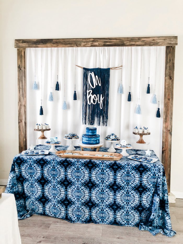 Oh Boy Dessert Table from a Shibori Tie Dye Baby Shower Brunch on Kara's Party Ideas | KarasPartyIdeas.com (19)