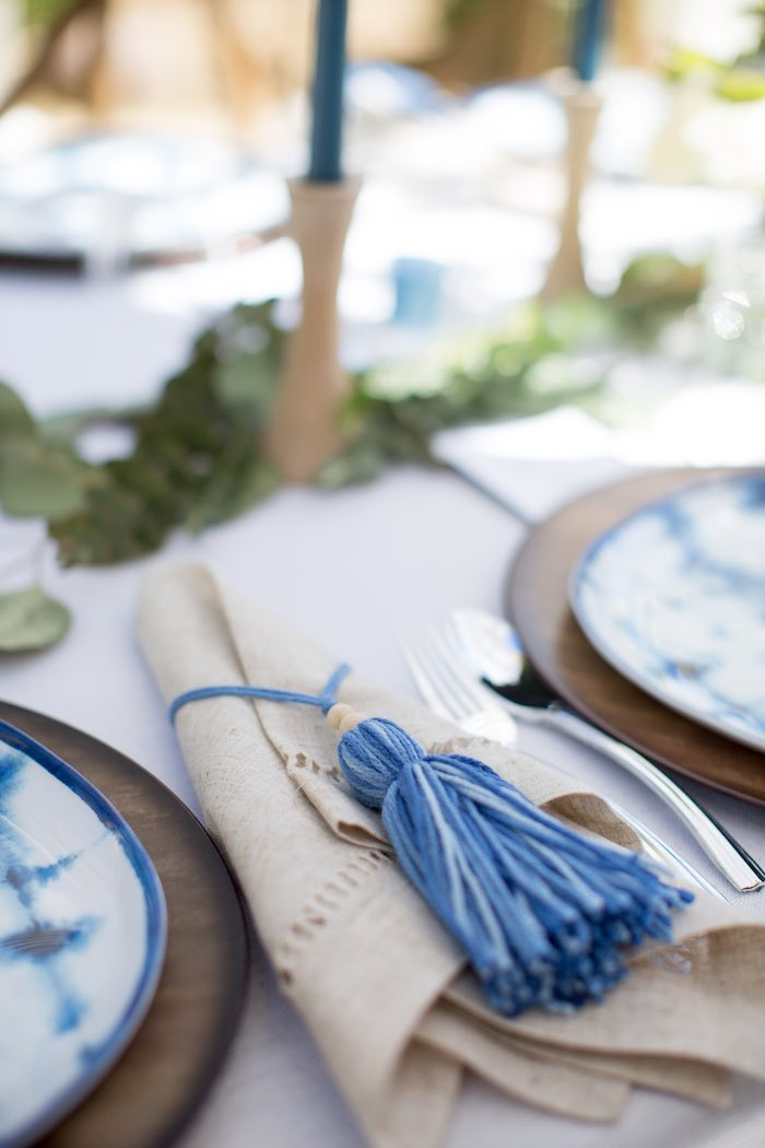 Tassel Napkin Ring from a Shibori Tie Dye Baby Shower Brunch on Kara's Party Ideas | KarasPartyIdeas.com (15)