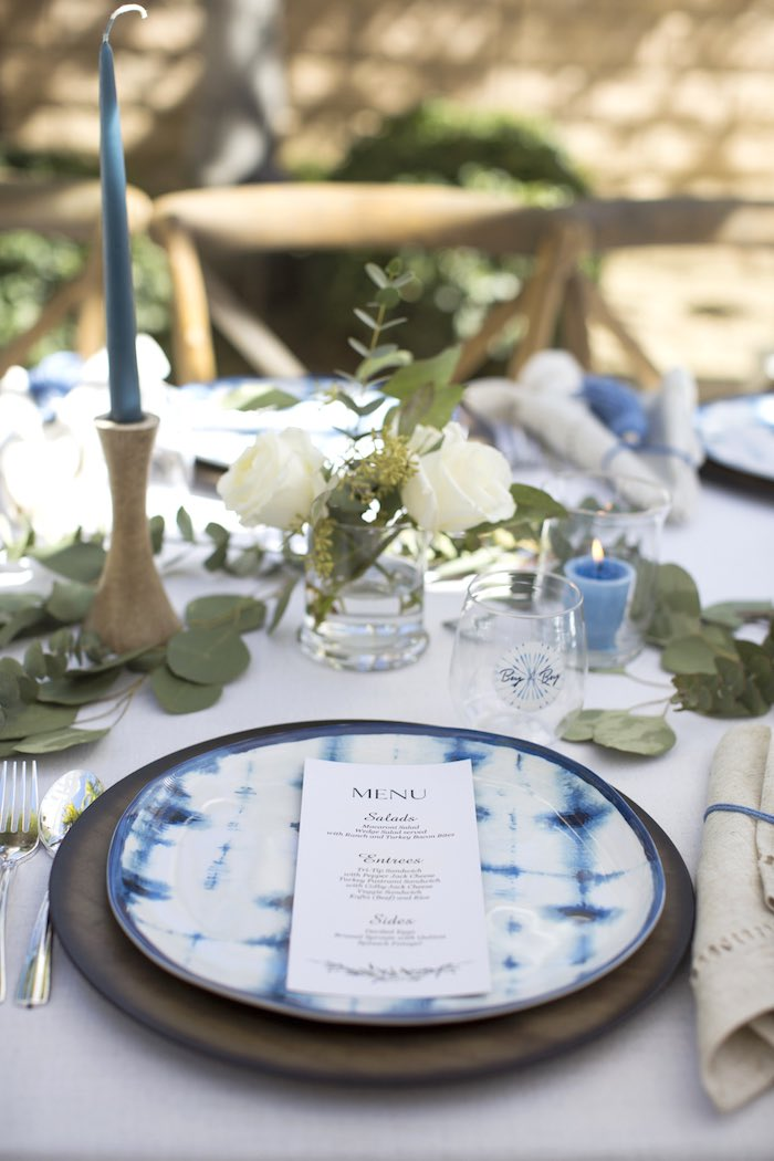 Tie Dye Table Setting from a Shibori Tie Dye Baby Shower Brunch on Kara's Party Ideas | KarasPartyIdeas.com (14)