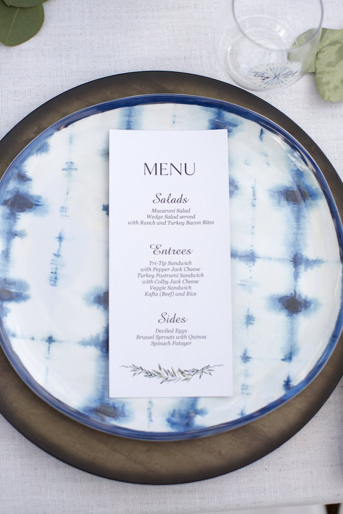 Tie Dye Table Setting from a Shibori Tie Dye Baby Shower Brunch on Kara's Party Ideas | KarasPartyIdeas.com (13)