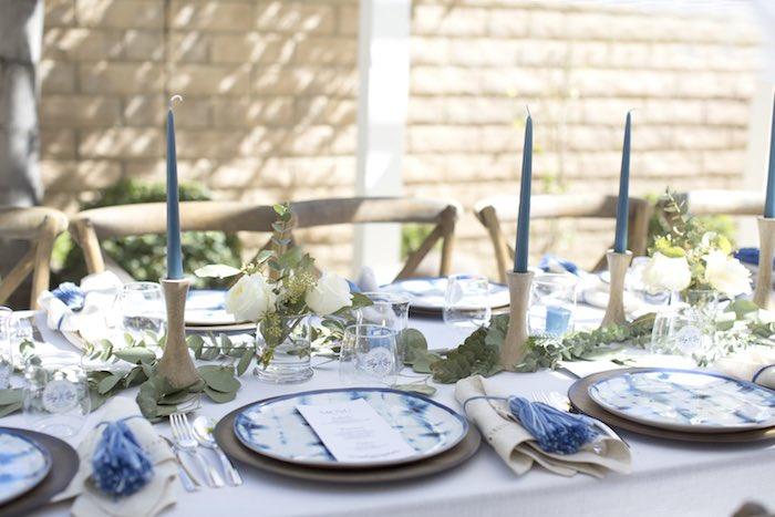 Dining Tablescape from a Shibori Tie Dye Baby Shower Brunch on Kara's Party Ideas | KarasPartyIdeas.com (12)