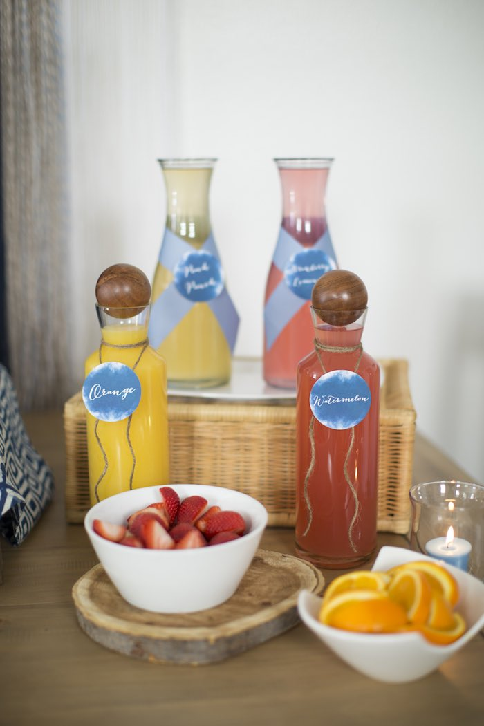 Mimosa Bar from a Shibori Tie Dye Baby Shower Brunch on Kara's Party Ideas | KarasPartyIdeas.com (44)