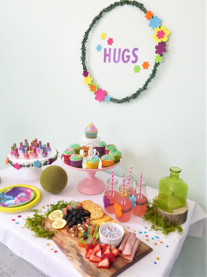 Trolls Themed Party Table from a Trolls Themed Spa Party for Girls on Kara's Party Ideas | KarasPartyIdeas.com