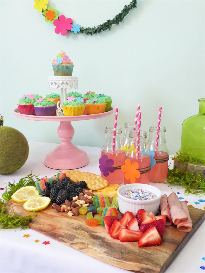 Snack Board and cake stand from a Trolls Themed Spa Party for Girls on Kara's Party Ideas | KarasPartyIdeas.com