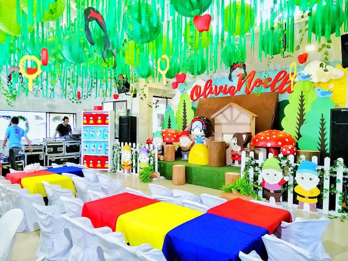 Snow White Party Stage + Colorful Kid Tables from a Snow White Birthday Party on Kara's Party Ideas | KarasPartyIdeas.com (9)