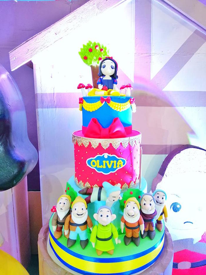 Snow White Birthday Cake from a Snow White Birthday Party on Kara's Party Ideas | KarasPartyIdeas.com (19)
