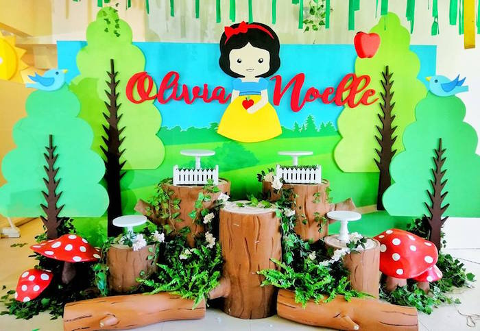 Snow White Log Pedestal Dessert Spread from a Snow White Birthday Party on Kara's Party Ideas | KarasPartyIdeas.com (16)