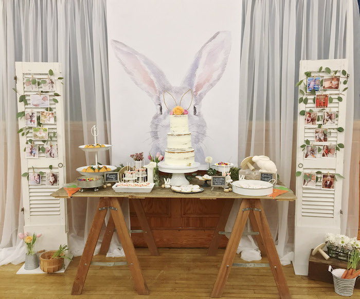 Bunny-inspired Dessert Table from a Some-Bunny is One Birthday Party on Kara's Party Ideas | KarasPartyIdeas.com (25)
