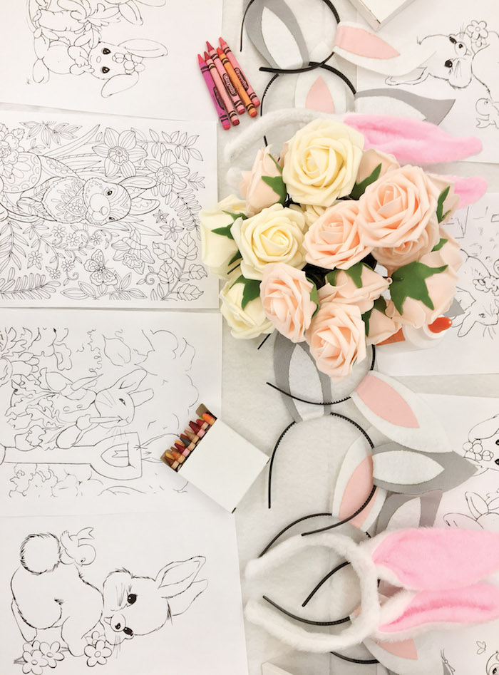 Bunny Coloring Pages + Activity Table from a Some-Bunny is One Birthday Party on Kara's Party Ideas | KarasPartyIdeas.com (23)