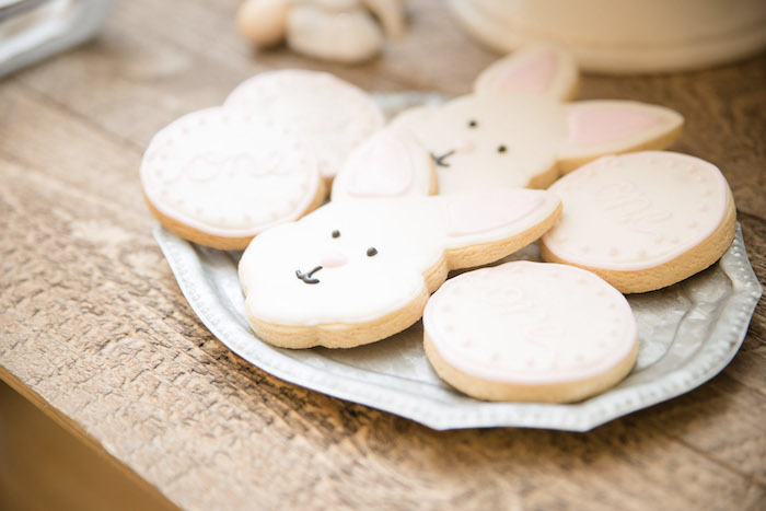 Bunny Cookies from a Some-Bunny is One Birthday Party on Kara's Party Ideas | KarasPartyIdeas.com (22)