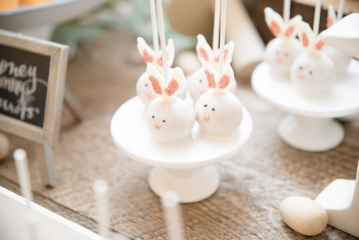 Bunny Cake Pops from a Some-Bunny is One Birthday Party on Kara's Party Ideas | KarasPartyIdeas.com (20)