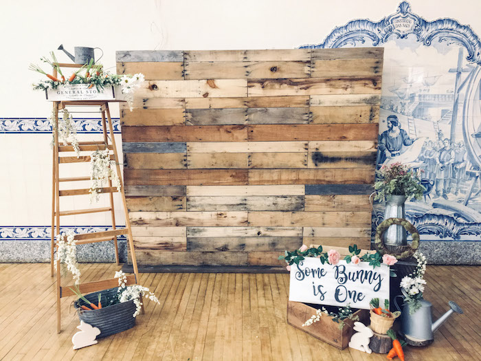 Garden Pallet Board Backdrop from a Some-Bunny is One Birthday Party on Kara's Party Ideas | KarasPartyIdeas.com (18)