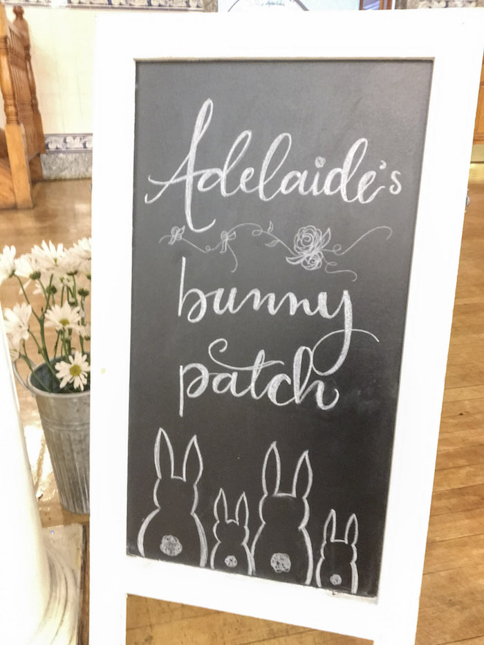 Bunny Patch Chalkboard Sign from a Some-Bunny is One Birthday Party on Kara's Party Ideas | KarasPartyIdeas.com (36)